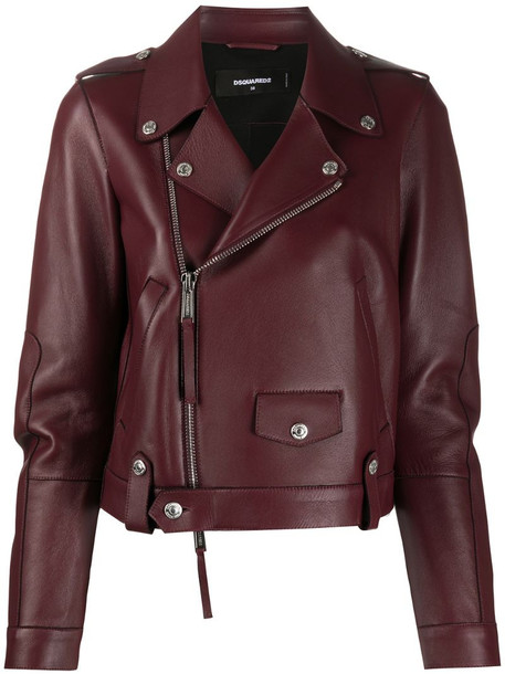 Dsquared2 zip-through biker jacket in red