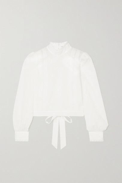 Reformation - Tennyson Open-back Broderie Anglaise Organic Cotton-voile Blouse - White