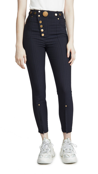 Alexander Wang High Waisted Snap Front Leggings in navy