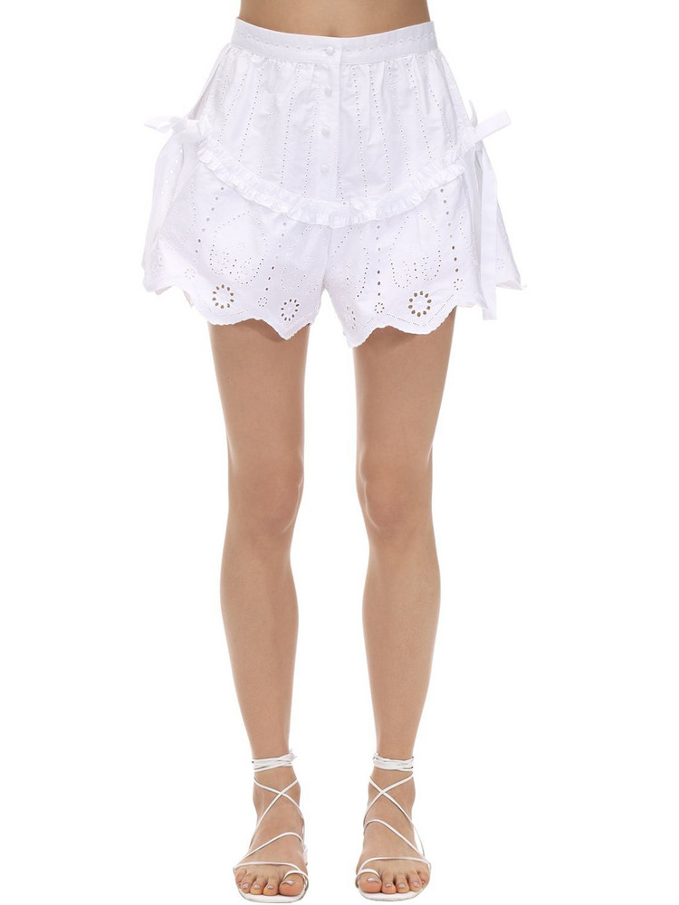 SIR THE LABEL Delilah Ruffled Cotton Poplin Shorts in white