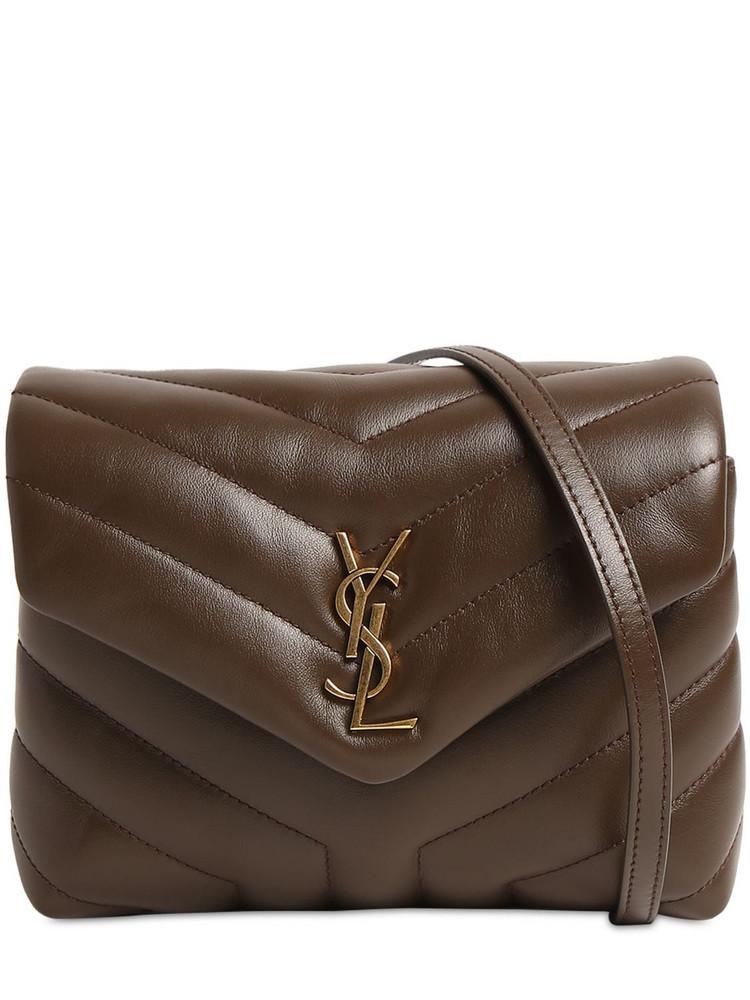 SAINT LAURENT Toy Loulou Brilliant Matelasse Bag in brown
