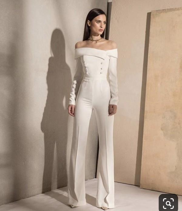 jumpsuit white jumpsuit white classy