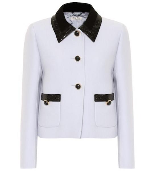Miu Miu Sequined cady jacket in blue