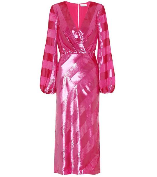Rebecca Vallance Striped velvet dress in pink