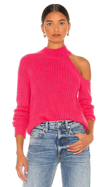 Lovers + Friends Lovers + Friends Alba Cold Shoulder Sweater in Pink