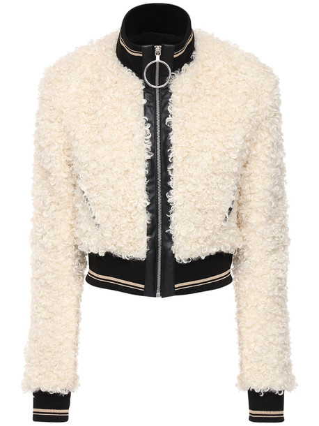 PACO RABANNE Faux Shearling Short Jacket in white