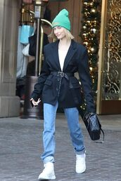 shoes,beanie,hailey baldwin,model off-duty,streetstyle,fall outfits,jeans,denim,blazer,celebrity