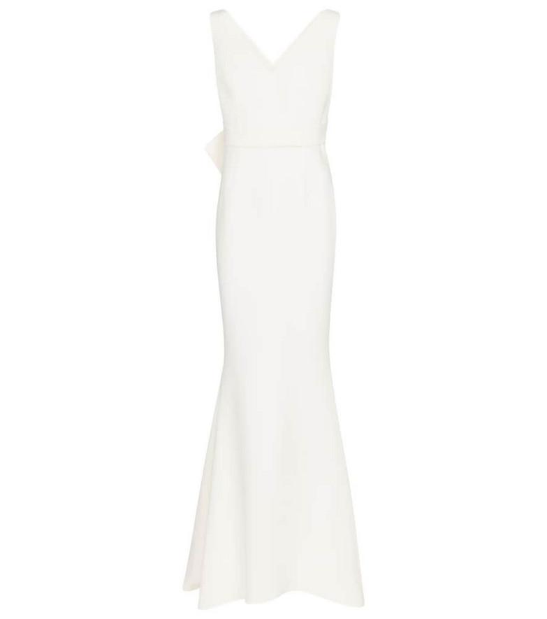 Safiyaa Bridal crêpe fishtail gown in white