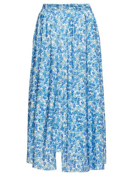 Vetements - Floral-print Double-waist Buttoned Skirt - Womens - Blue White