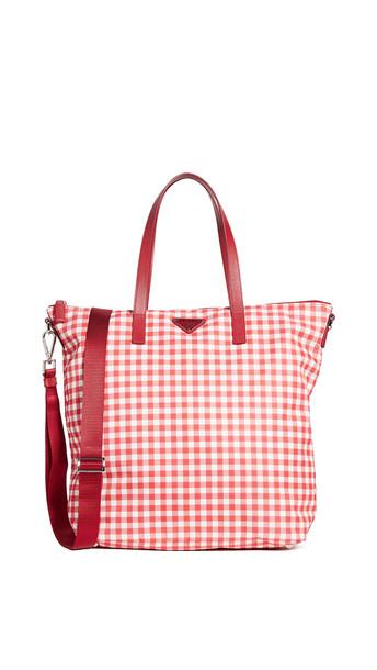 What Goes Around Comes Around Prada Red Nylon Check Tote Bag XL