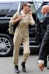 jumpsuit,irina shayk,military style,pants,shirt,khaki