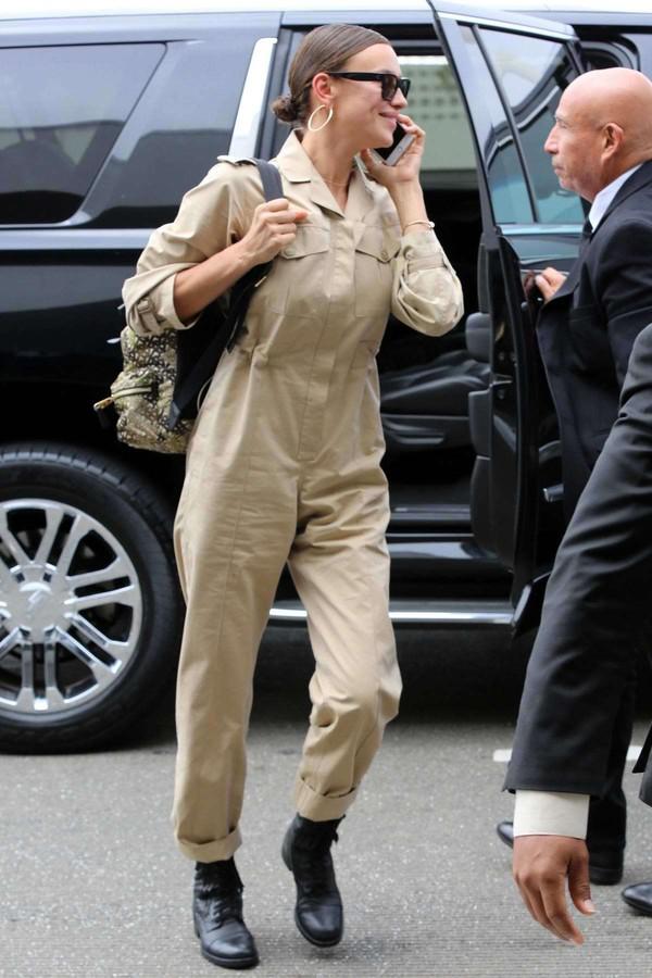 jumpsuit irina shayk military style pants shirt khaki