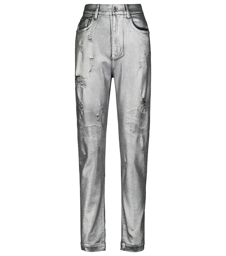 Dolce & Gabbana Amber distressed jacquard-pocket jeans in silver