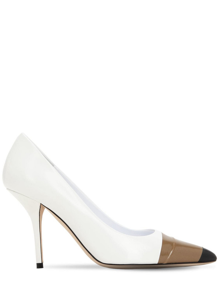 BURBERRY 90mm Annalise Leather Pumps in black / white