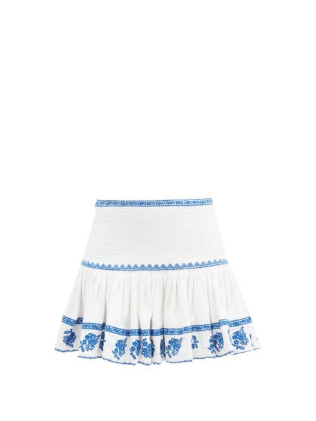 Isabel Marant Étoile - Russel Embroidered Cotton-voile Mini Skirt - Womens - Blue White