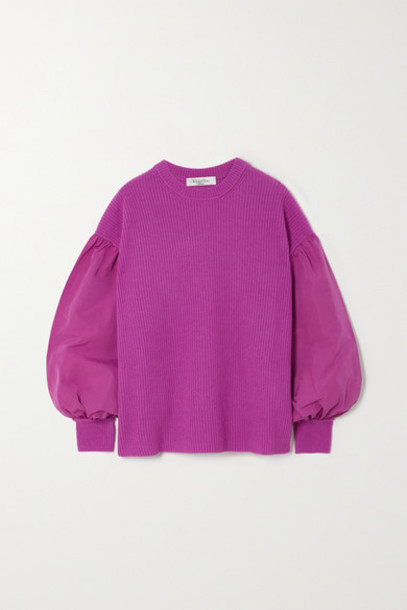 Valentino - Paneled Faille And Ribbed Wool And Cashmere-blend Sweater - Pink