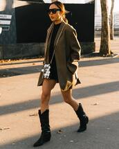 shoes,knee high boots,cowboy boots,blazer,oversized,black sweater,black shorts,silver bag