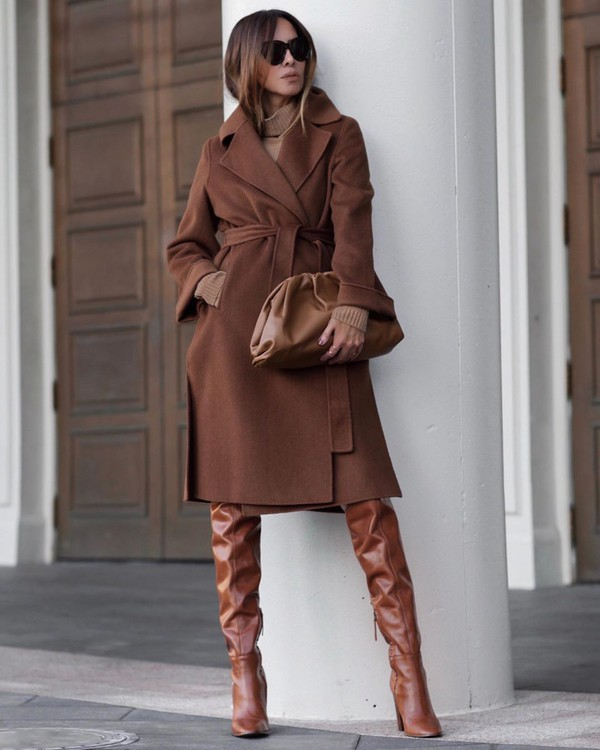 shoes over the knee boots brown boots long coat turtleneck sweater bag