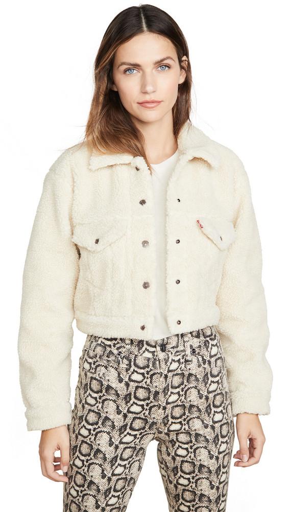 Levi's Crop Ao Sherpa Trucker Jacket in cream