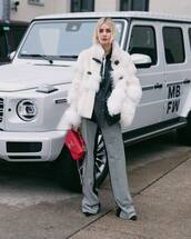 bag,louis vuitton bag,plaid,wide-leg pants,black shoes,white jacket,faux fur jacket,denim shirt,white t-shirt