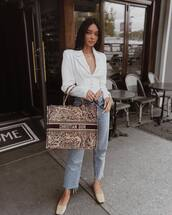 jacket,white jacket,corset,pumps,cropped jeans,straight jeans,high waisted jeans,dior bag