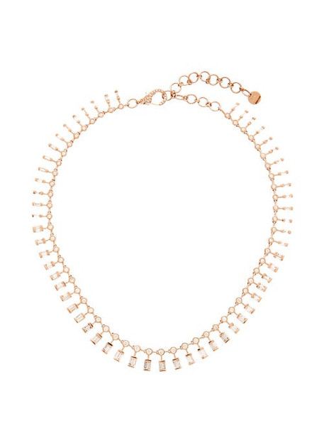 Shay - Dot Dash Diamond & 18kt Rose Gold Necklace - Womens - Crystal