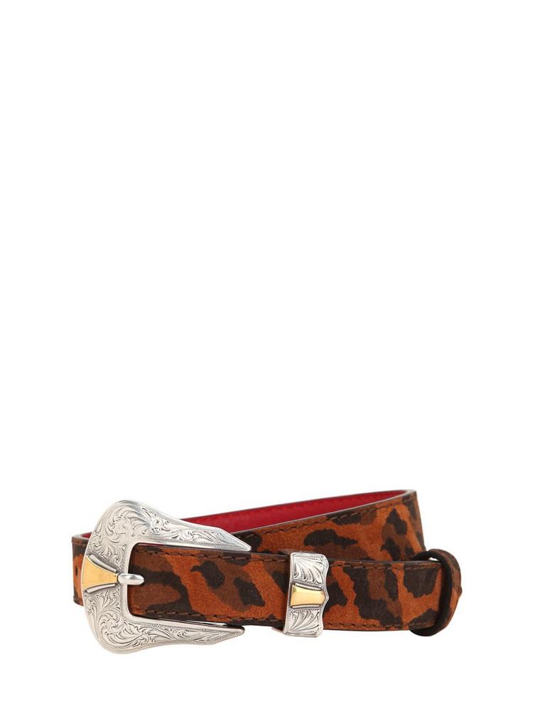 KATE CATE 26mm Leopard Print Cowgirl Belt in beige
