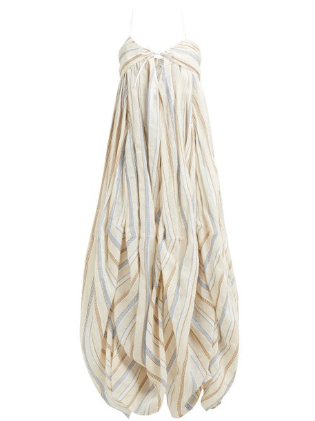 Jacquemus - Calci Halterneck Cotton Blend Maxi Dress - Womens - Beige Multi