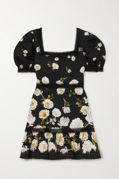 Alice + Olivia Alice Olivia - Wylie Crochet-trimmed Floral-print Cotton-blend Mini Dress - Black