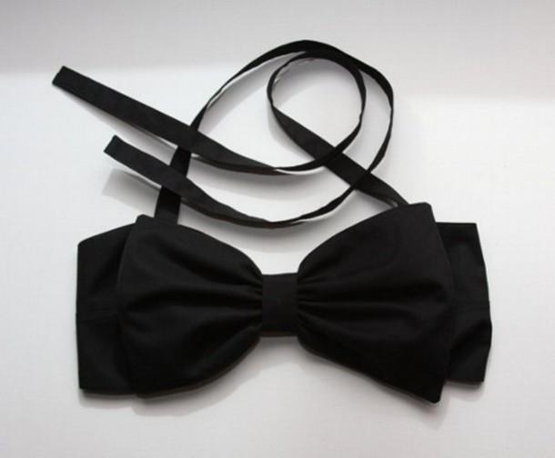 top black bow straps swimwear