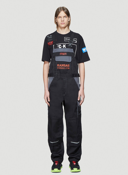 Willy Chavarria x Kansas Icon Overalls Dungaree in Black size M