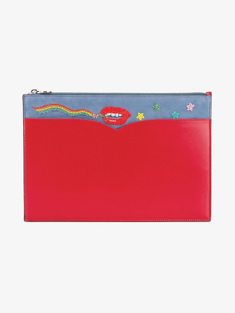 Olympia Le-Tan beaded lip pouch in red