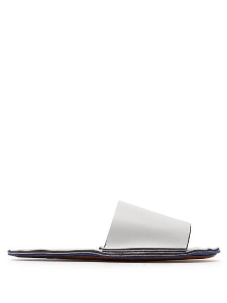 Marni - Raw Edge Leather Slides - Womens - White