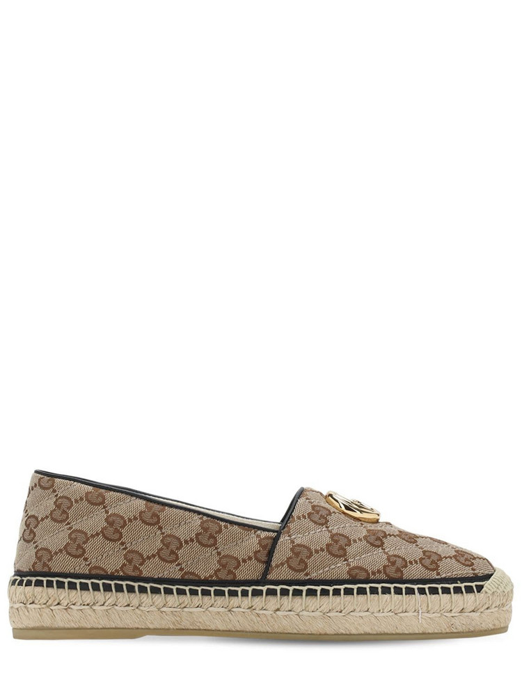 GUCCI 20mm Pilar Quilted Canvas Espadrilles in black / brown