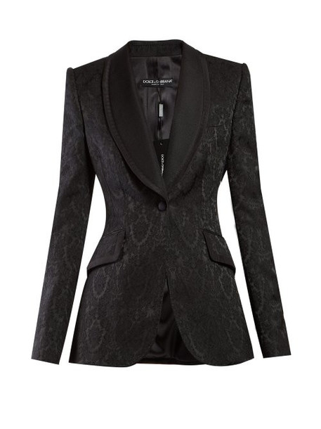 Dolce & Gabbana - Single Breasted Floral Jacquard Blazer - Womens - Black
