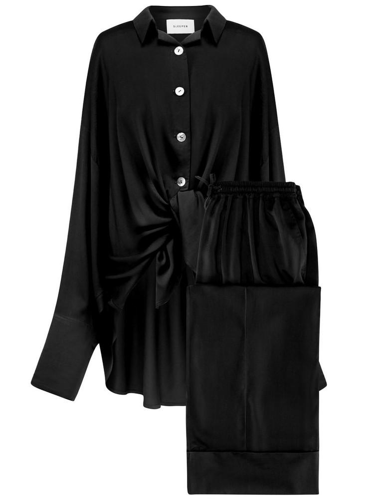 SLEEPER Viscose Pajama Set in black
