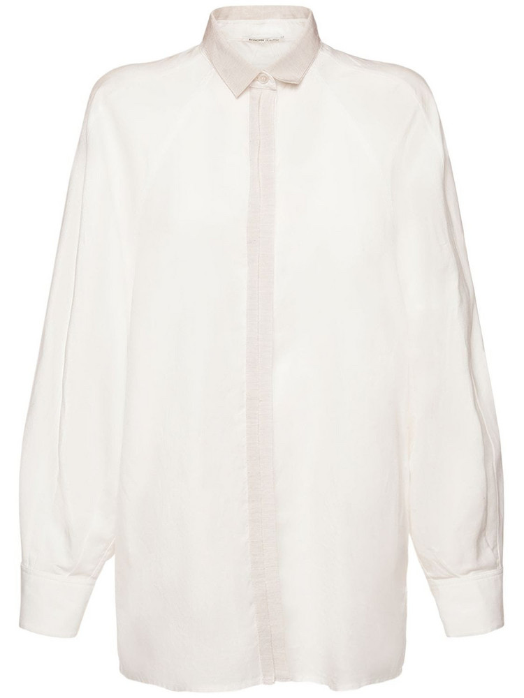 AGNONA Cotton Blend Shirt W/ Puff Sleeves in white