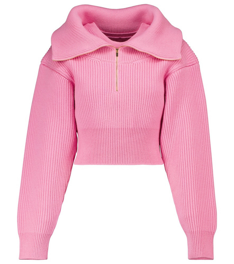 Jacquemus La Maille Risoul cropped wool sweater in pink