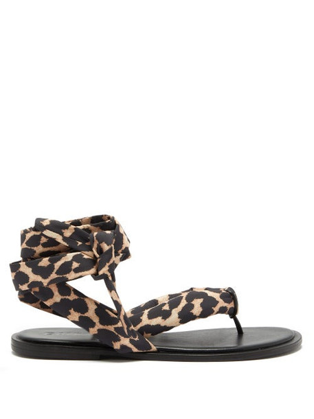 Ganni - Wraparound Leopard-print Recycled-fabric Sandals - Womens - Leopard
