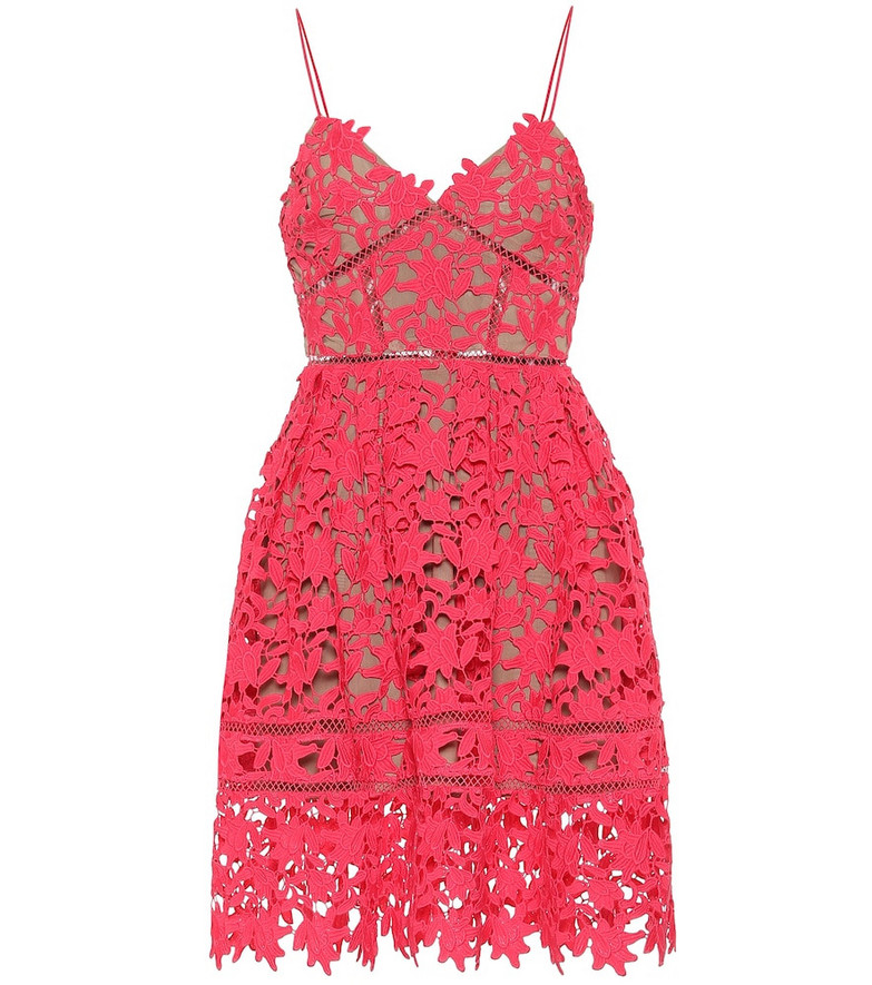 Self-Portrait Floral guipure lace minidress in pink