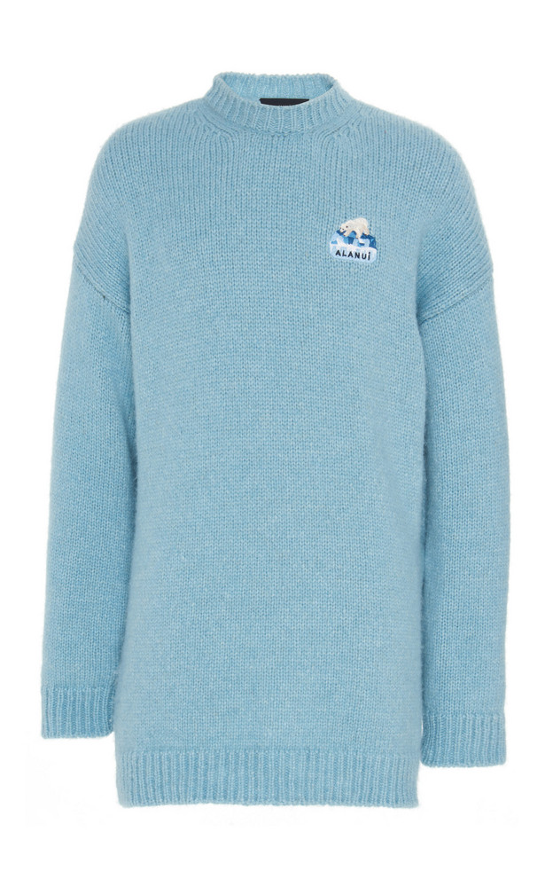 Alanui Global Warming Embroidered Alpaca-Blend Sweater in blue