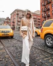 pants,wide-leg pants,white pants,high waisted pants,pumps,velvet,blazer,chanel bag,white bag,sunglasses,necklace