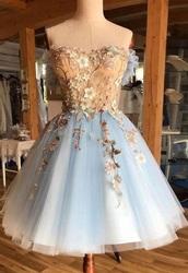 dress,strapless dress,flower appliqué,tulle skirt,fairy tale,short prom dress,off the shoulder dress,floral dress