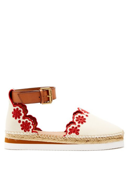 See By Chloé See By Chloé - Laser Cut Leather Espadrilles - Womens - Red White