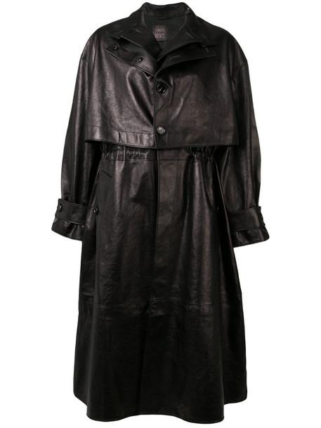 Bottega Veneta single-breasted leather trench coat in black