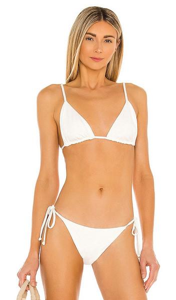 MIKOH Sendai Bikini Top in White in ecru