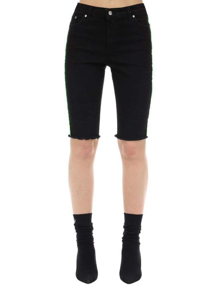 REPRESENT Cotton Blend Denim Riding Shorts in black