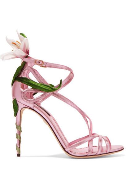 Dolce & Gabbana - Floral-appliquéd Metallic Leather Sandals - Pink