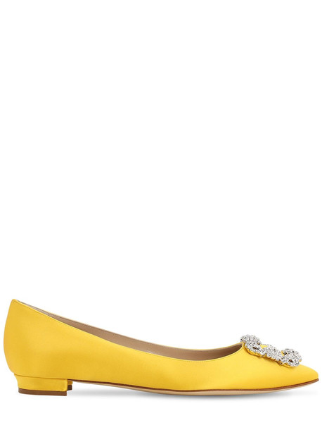 MANOLO BLAHNIK 10mm Hangisi Silk Satin Flats in yellow
