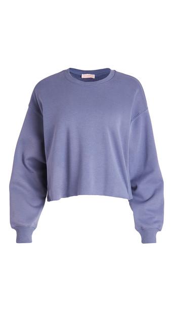 re:named re: named Oversized Cropped Terry Fleece Sweatshirt in blue